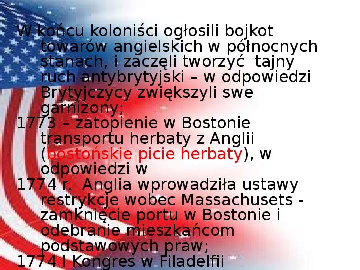 Powstanie Stanów Zjednoczonych Ameryki - Slajd 8