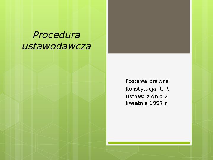 Procedura ustawodawcza - Slajd 1