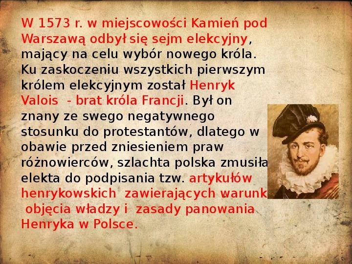 Rzeczpospolita za pierwszych królów elekcyjnych - Slajd 5