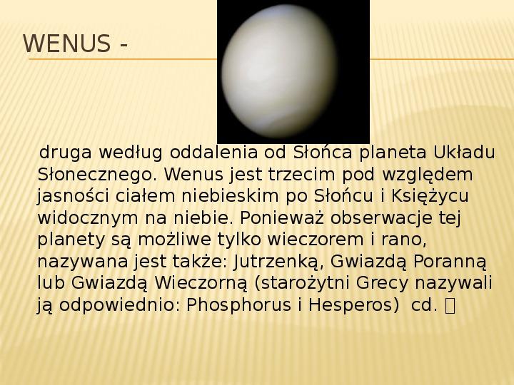Wenus - Slajd 2