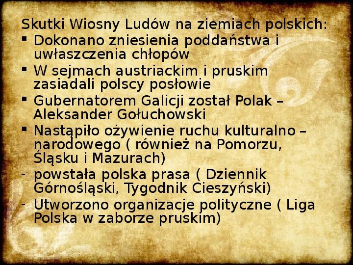 Wiosna Ludów na ziemiach polskich - Slajd 8