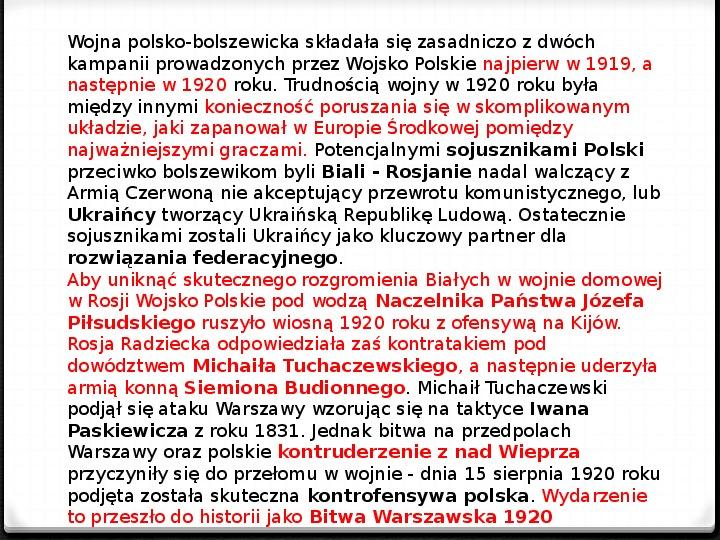 Wojna polsko - bolszewicka - Slajd 31
