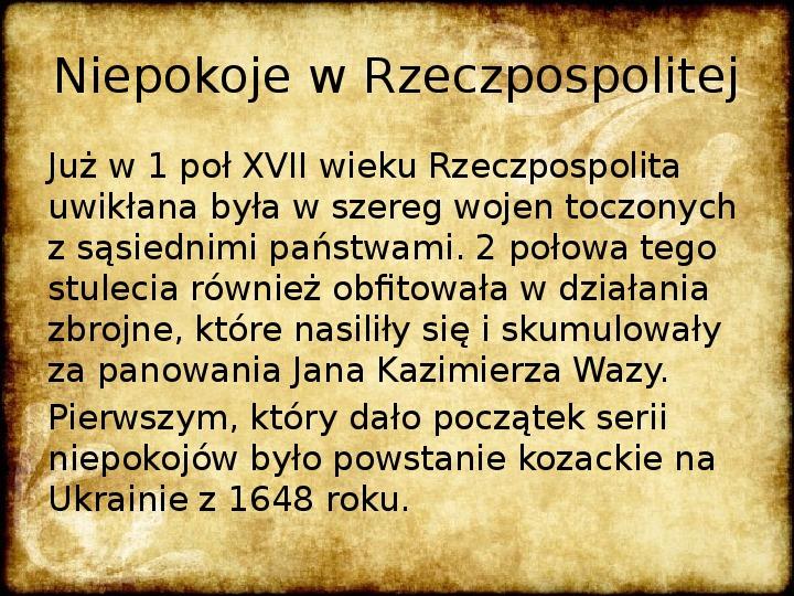 Wojny Rzeczpospolitej w 2 poł. XVII wieku - Slajd 1