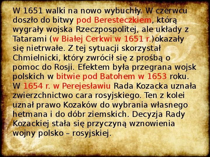 Wojny Rzeczpospolitej w 2 poł. XVII wieku - Slajd 10
