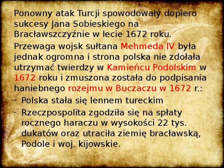 Wojny Rzeczpospolitej w 2 poł. XVII wieku - Slajd 21