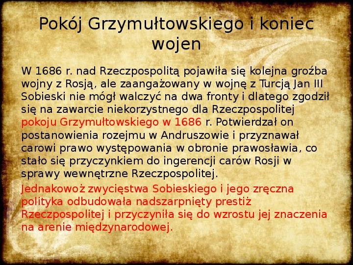 Wojny Rzeczpospolitej w 2 poł. XVII wieku - Slajd 27