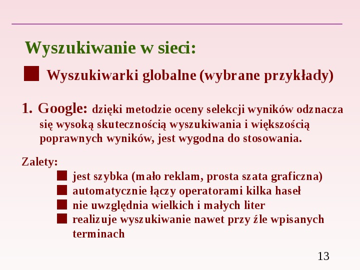Wyszukiwanie informacji w Internecie - Slajd 12