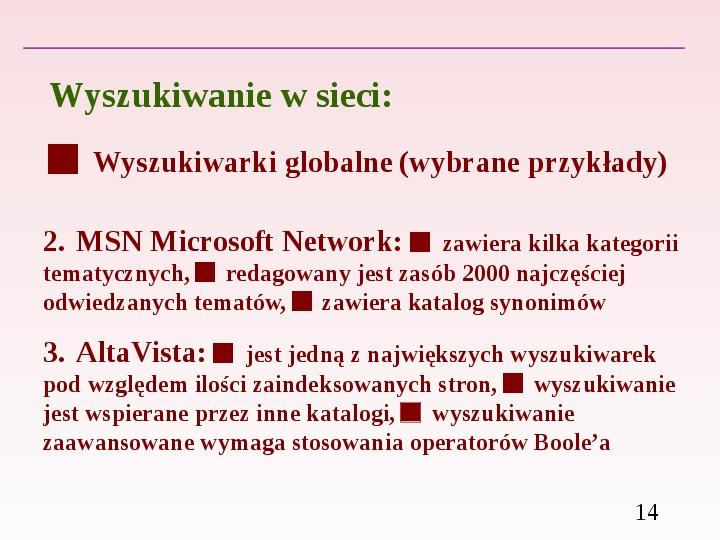 Wyszukiwanie informacji w Internecie - Slajd 13