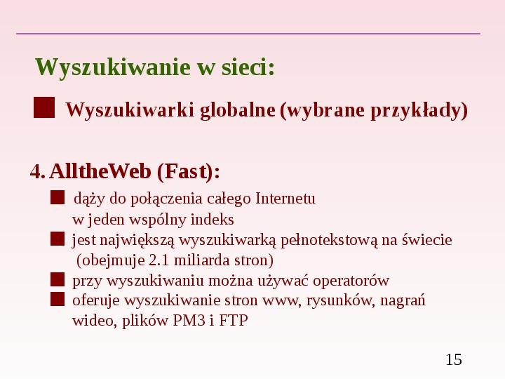 Wyszukiwanie informacji w Internecie - Slajd 14