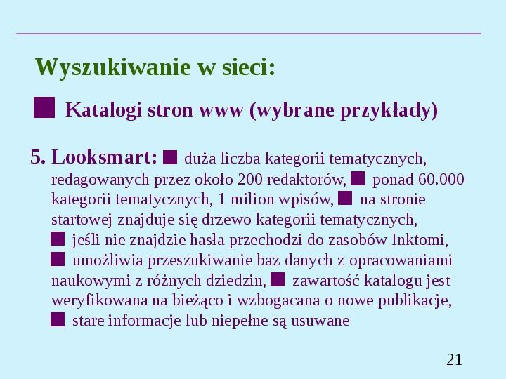 Wyszukiwanie informacji w Internecie - Slajd 20