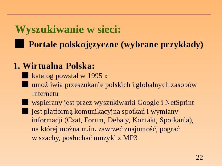 Wyszukiwanie informacji w Internecie - Slajd 21