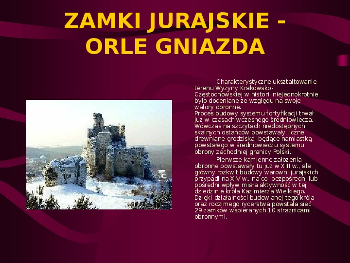 Zamki Jury Krakowsko Częstochowskiej - Slajd 1