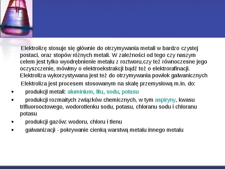 Zastosowanie elektrolizy - Slajd 2