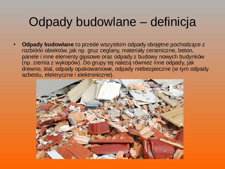 Odpady budowlane - Slajd 2