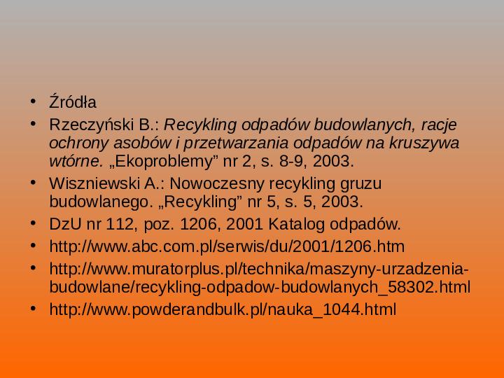Odpady budowlane - Slajd 24