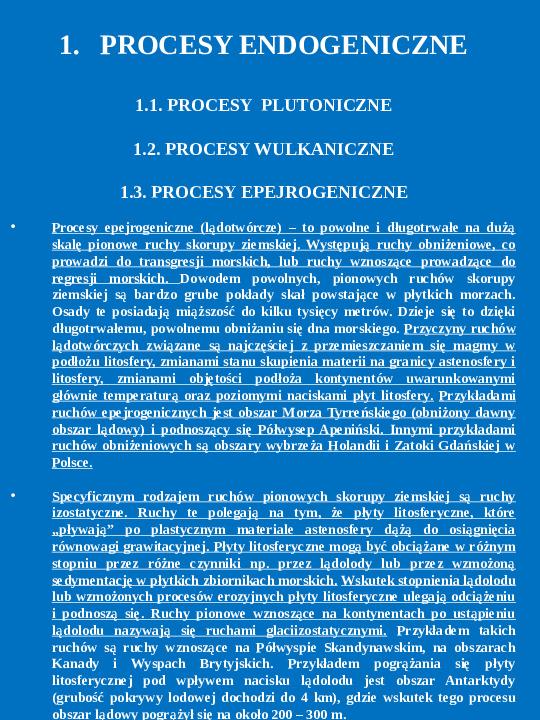 Procesy endogeniczne i egzogeniczne - Slajd 1