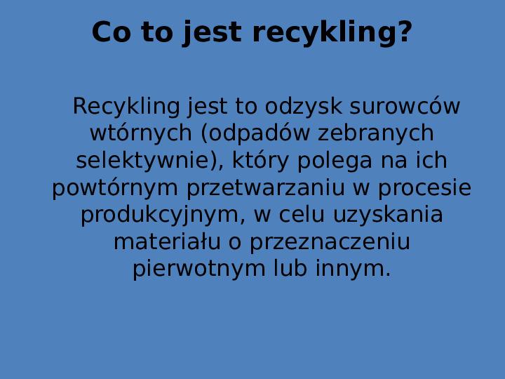 Recykling final - Slajd 1