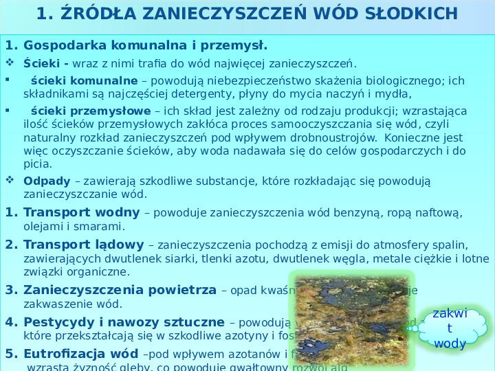 Użytkowanie i zagrożenia wód słodkich - Slajd 12