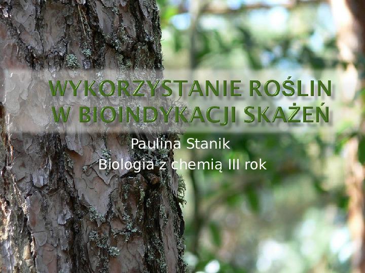 Wykorzystanie roślin w bioindykacji skażeń - Slajd 1