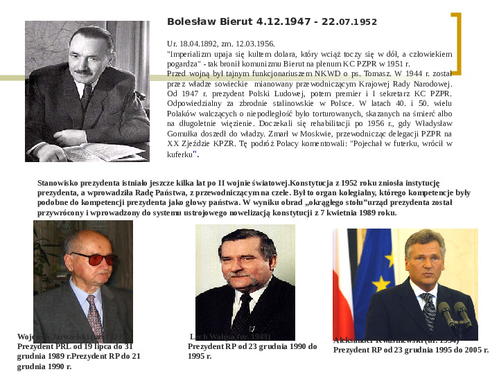 Władza wykonawcza - prezydent RP - Slajd 3