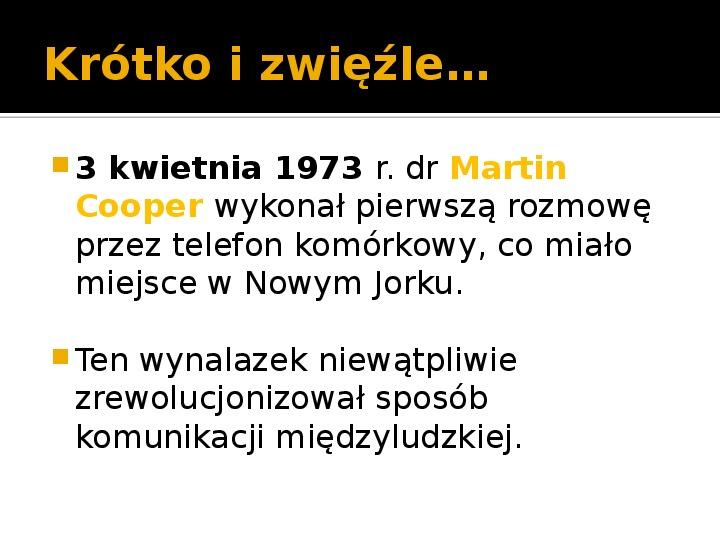 Historia telefonów komórkowych - Slajd 2