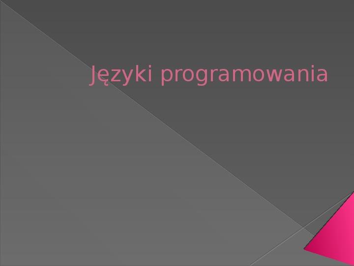 Języki programowania - Slajd 1