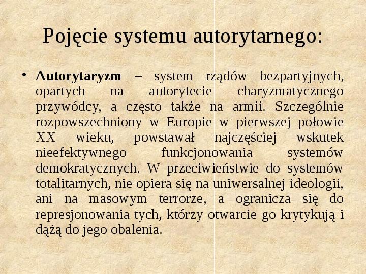 Obywatel a władza w systemach totalitarnych i autorytarnych - Slajd 6