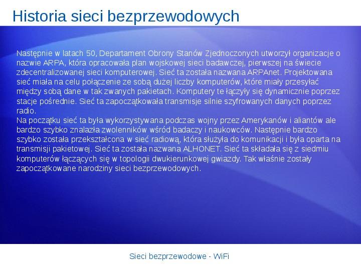Sieci bezprzewodowe - WiFi - Slajd 2