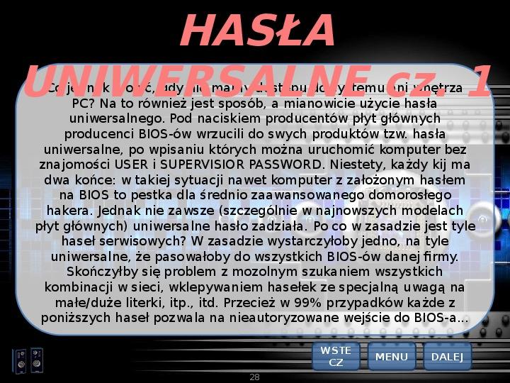 BIOS - Slajd 27