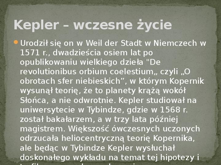 Johannes Kepler - Slajd 1