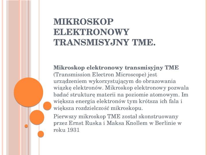 Mikroskop elektronowy transmisyjny - Slajd 0