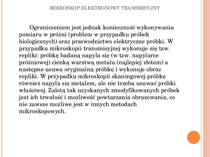Mikroskop elektronowy transmisyjny - Slajd 13