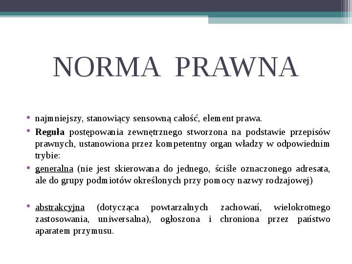Prawo - definicja,funkcje, norma - Slajd 5
