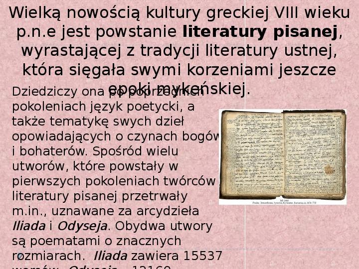 Literatura i teatr w starozytnej Grecji - Slajd 2