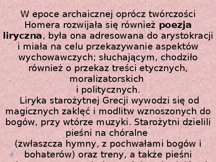 Literatura i teatr w starozytnej Grecji - Slajd 6