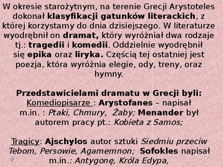 Literatura i teatr w starozytnej Grecji - Slajd 9