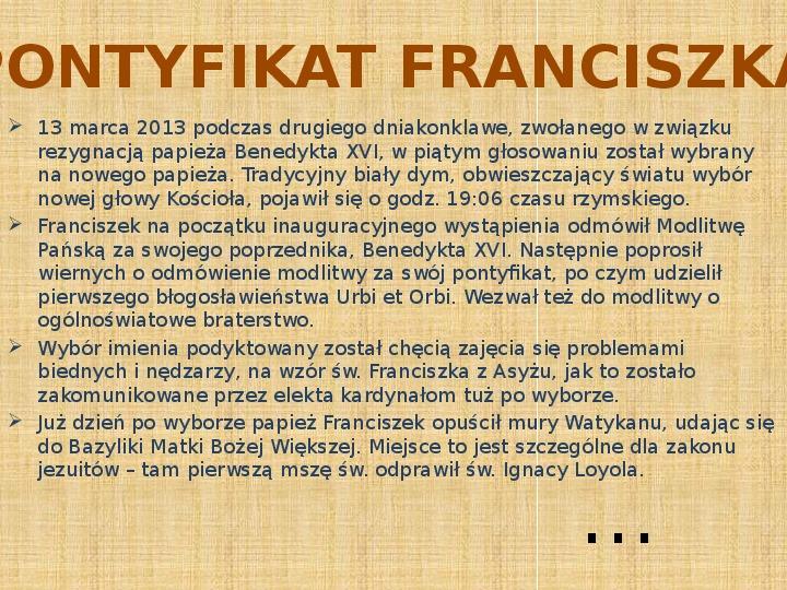 Papież Franciszek - Slajd 10