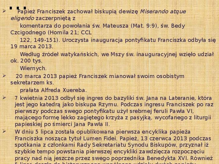 Papież Franciszek - Slajd 11