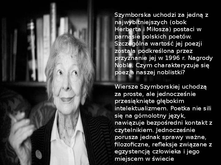 Prezentacja Wisława Szymborska świat Prezentacji