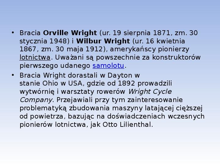 Bracia Wright Samolot - Slajd 2