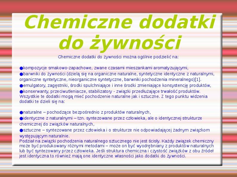 Chemiczne dodatki do żywności - Slajd 0
