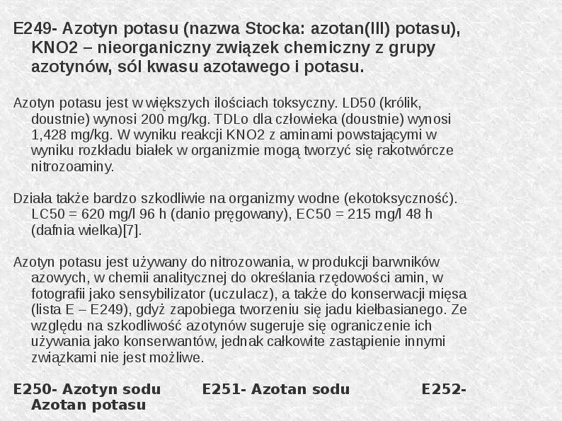 Chemiczne dodatki do żywności - Slajd 15