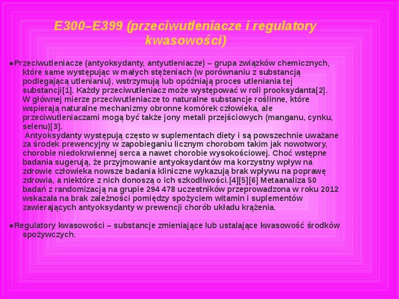 Chemiczne dodatki do żywności - Slajd 17