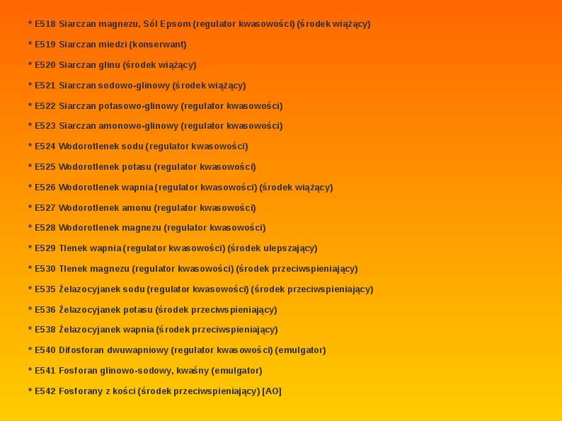 Chemiczne dodatki do żywności - Slajd 32