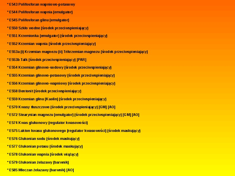 Chemiczne dodatki do żywności - Slajd 33