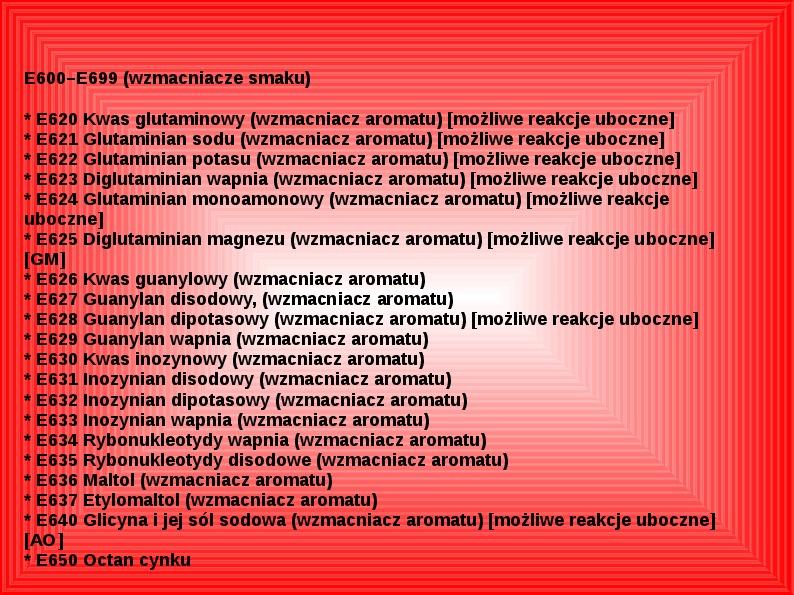 Chemiczne dodatki do żywności - Slajd 34