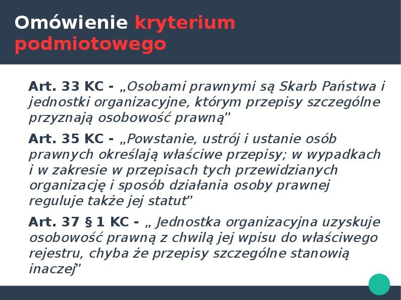Przedsiębiorca w kontekście przedsiębiorstawa państwowego i działalności gospodarczej - Slajd 16