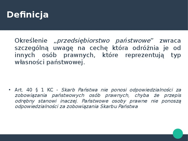 Przedsiębiorca w kontekście przedsiębiorstawa państwowego i działalności gospodarczej - Slajd 24