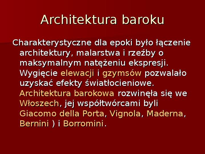 Sztuka barokowa w Polsce i Europie - Slajd 30