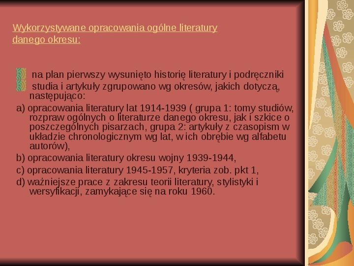 Źródła informacji z dziedziny historii literatury - Slajd 5